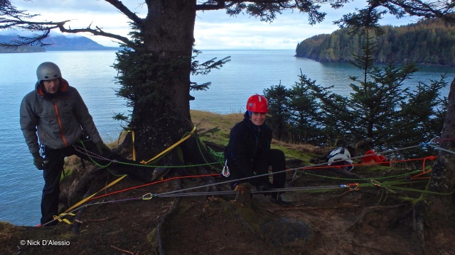 KISAR members working on raise and lower systems for high angle rescues